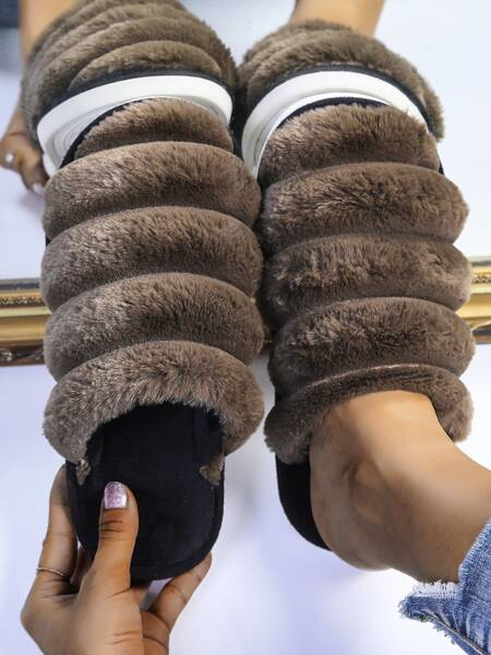 Quilted Fluffy Bedroom Slippers