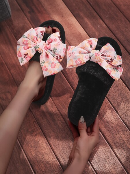 Floral Graphic Bow Decor Fluffy Slippers
