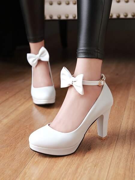 Bow Decor Platform Chunky Court Heels