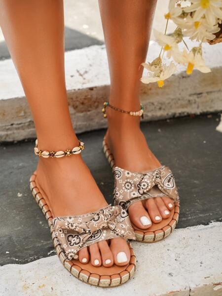 Bow Decor Espadrille Slide Sandals