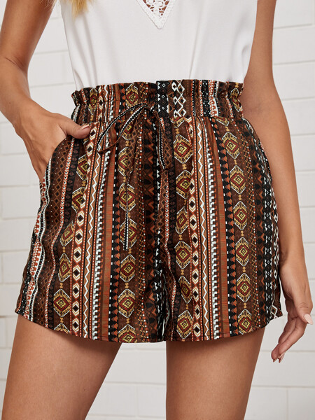 Striped & Geo Print Paperbag Waist Knotted Shorts