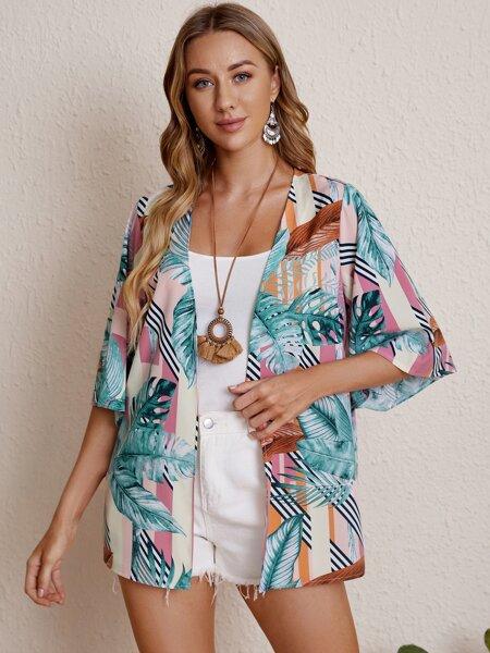 Tropical Random Print Kimono