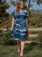 Plus Keyhole Neck Midi Tunic Dress