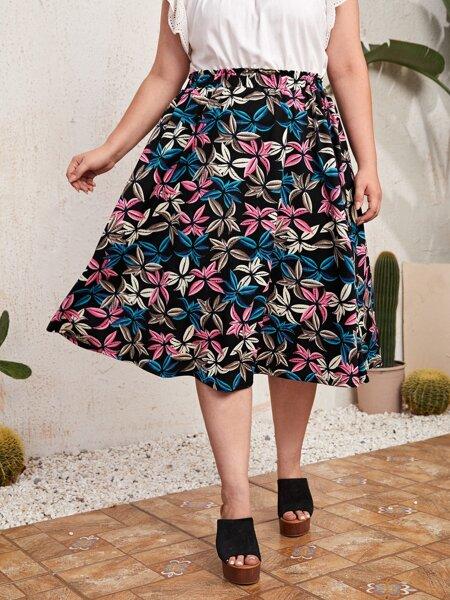 Plus Allover Floral Skirt