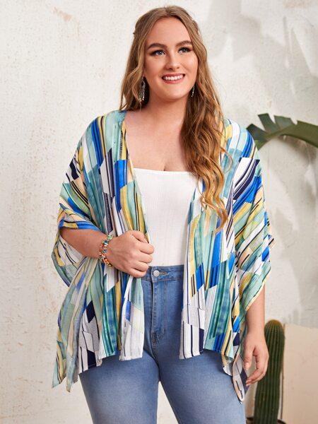 Plus Allover Geo Print Kimono