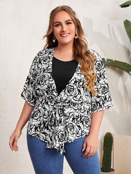 Plus Floral Print Kimono