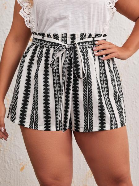 Plus Geo Print Paperbag Waist Belted Shorts