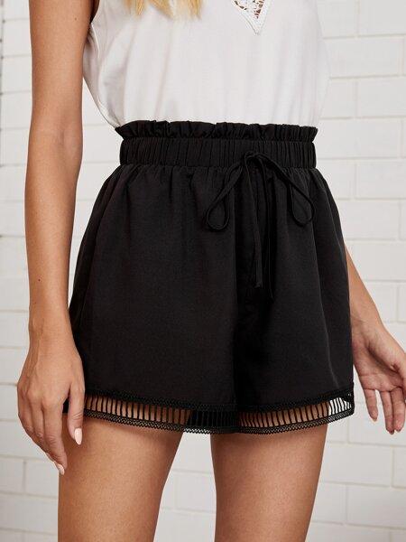 Paperbag Waist Lace Hem Shorts