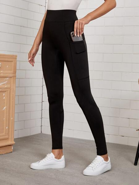 Solid Leggings With Phone Pocket