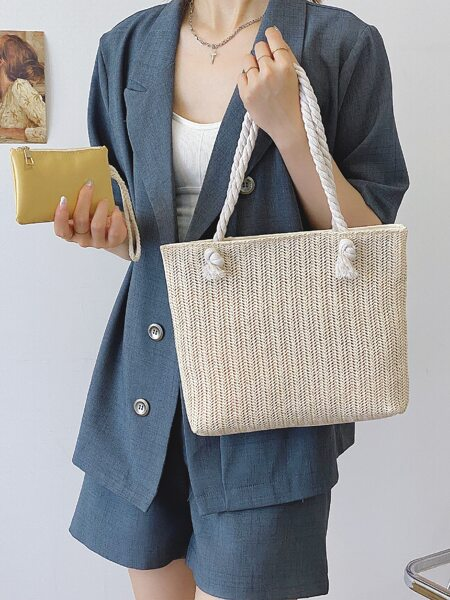 Straw Shoulder Tote Bag With Purse