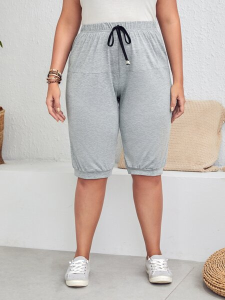 Plus Solid High Waist Track Shorts