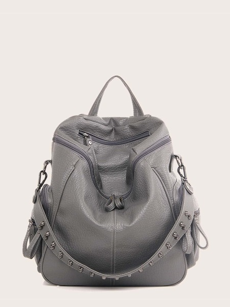 Studded Decor Large Capacity Backpack