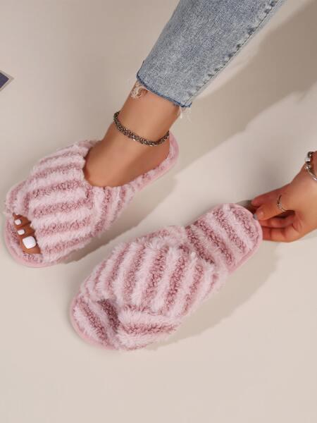 Cross Strap Fluffy Bedroom Slippers