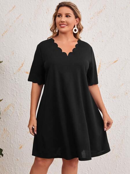 Plus Solid Scallop Trim Tunic Dress