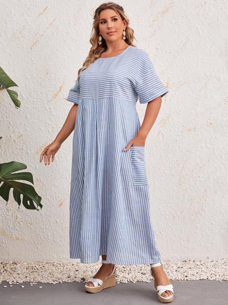 Plus Striped Pocket Detail Dress