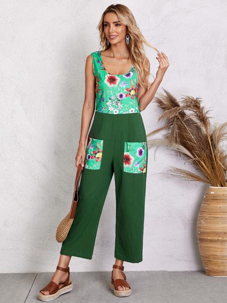 Colorblock Flower Print Dual Pocket Jumpsuit