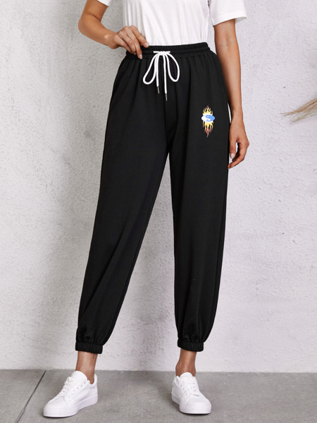 Yin & Yang Print Drawstring Sweatpants