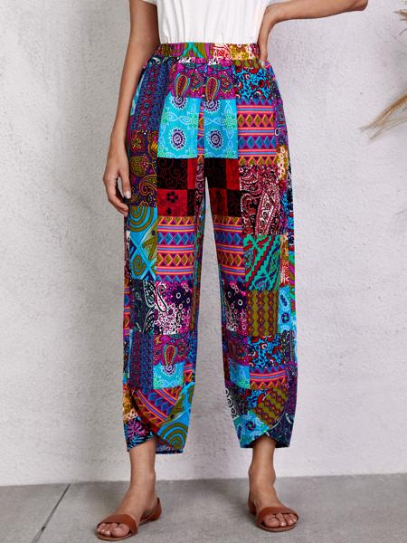 Paisley Print Elastic Waist Pants