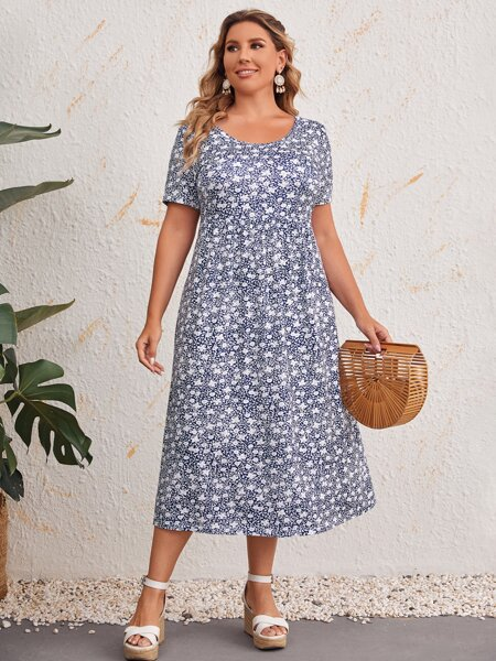 Plus Ditsy Floral Print Dress