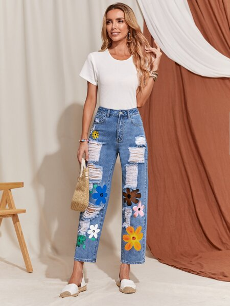 High Waist Floral Print Straight Leg Jeans