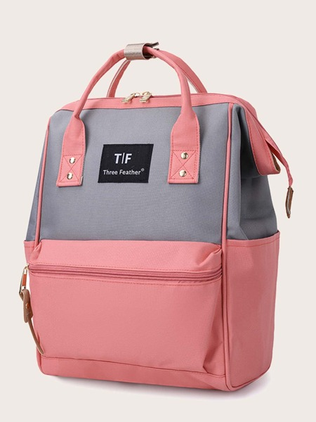 Letter Graphic Two Tone Functional Backpack