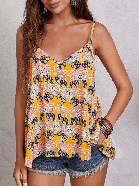 Elephant & Tropical Print Cami Top