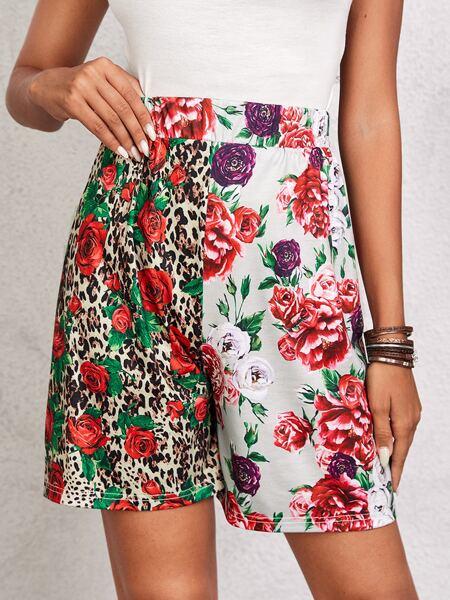 Floral & Leopard Print Shorts