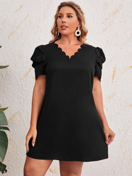 Plus Scallop Trim Tunic Dress