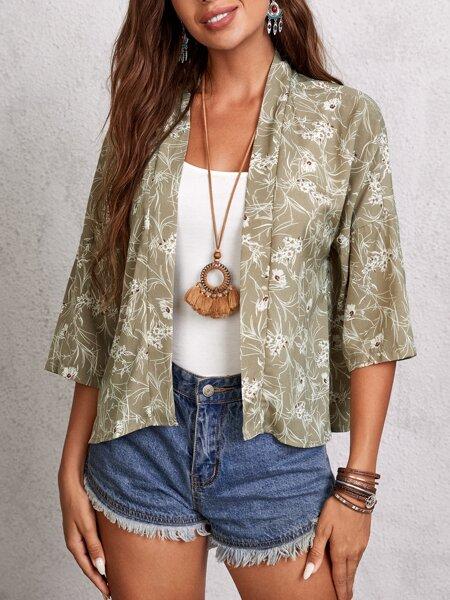 Ditsy Floral Print Kimono