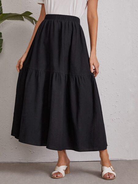 Flared Hem Solid Skirt