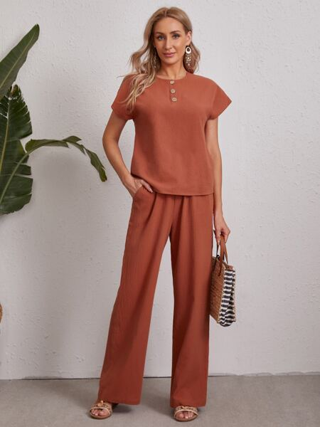 Batwing Sleeve Solid Top And Pants Set