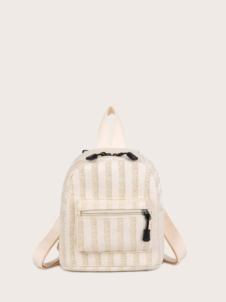 Striped Pattern Pocket Front Straw Backpack