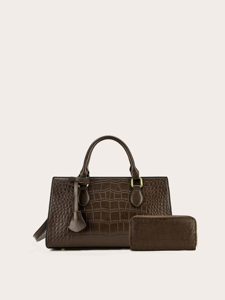 Croc Embossed Satchel Bag With Purse