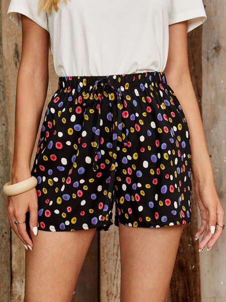 Allover Print Knot Front Shorts
