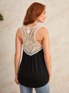 Contrast Guipure Lace Back Tank Top