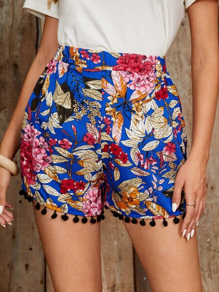 Floral Pom Pom Hem Shorts