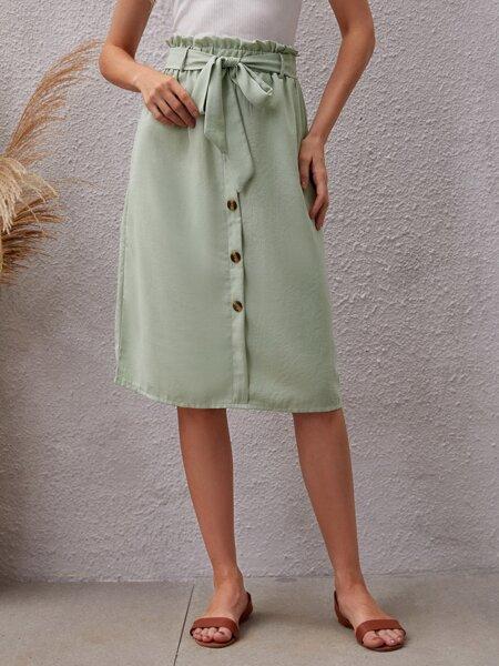 Solid Paper Bag Waist Skirt