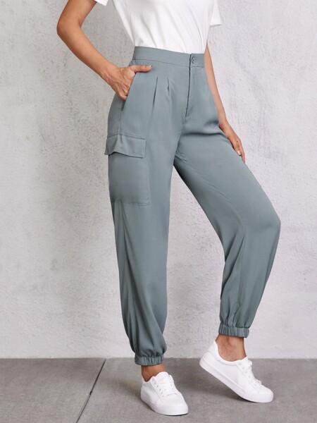 Solid Flap Pocket Cargo Pants