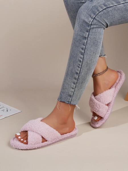 Minimalist Cross Strap Fluffy Slippers
