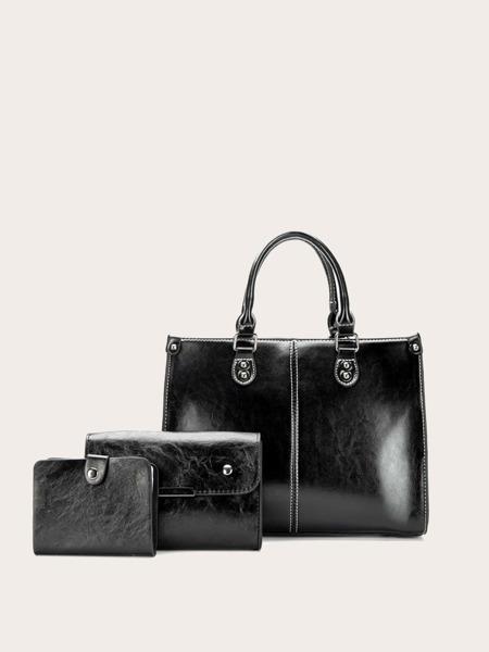 3pcs Stitch Detail Tote Bag Set