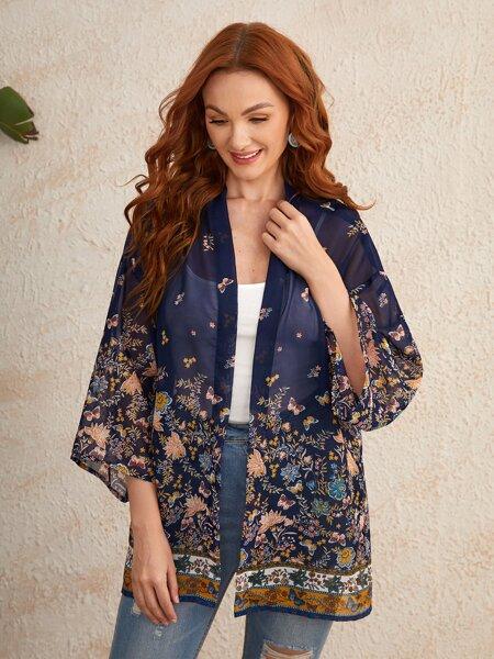 Drop Shoulder Floral & Butterfly Print Kimono