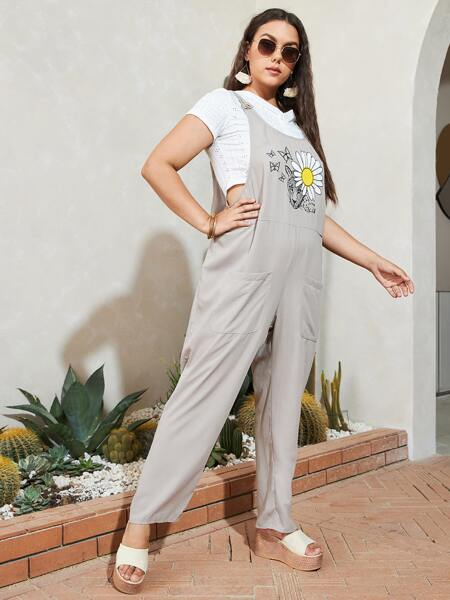 Plus 1pc Floral Print Dual Pocket Overall