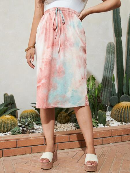 Plus Tie Dye Knot Front Straight Skirt
