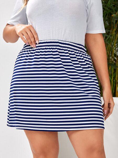 Plus Stripe Straight Skirt