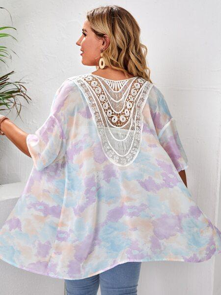 Plus Cloud Pattern Open Front Kimono