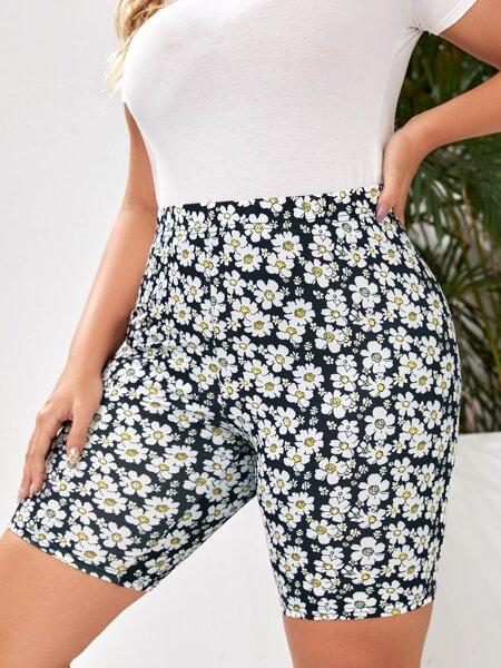 Plus Allover Floral Print Biker Shorts