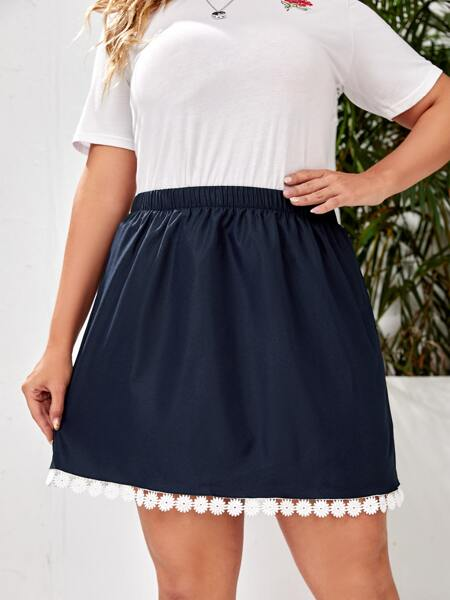 Plus Contrast Lace Trim Straight Skirt