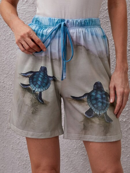 Sea Turtle Knot Front Shorts