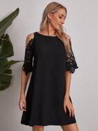 Cold Shoulder Guipure Lace Dress