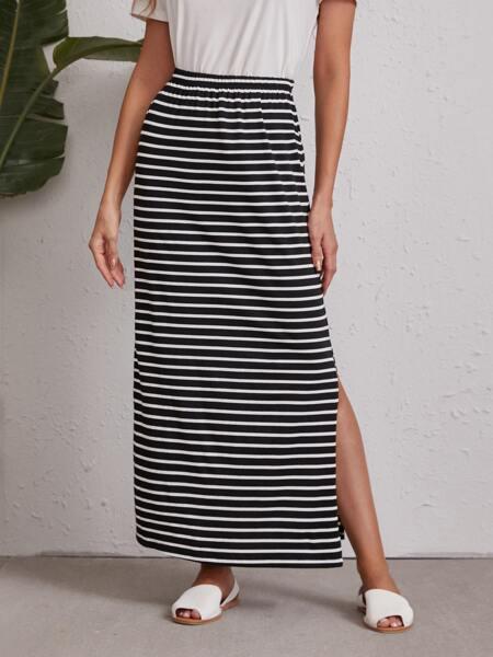 High Split Striped Skirt